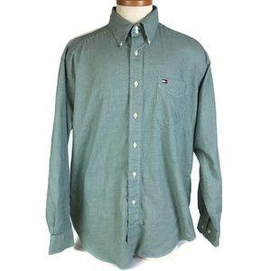 Tommy Hilfiger Shirt Size L Green Houndstooth